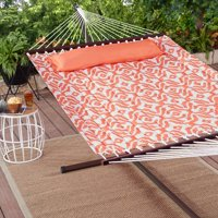 Mainstays Harley Hills Quilted Outdoor Double Hammock in Coral