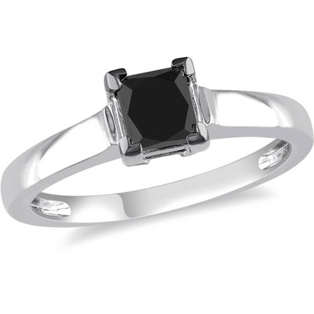 1 Carat T.W. Princess-Cut Black Diamond 10kt White Gold Solitaire Engagement Ring