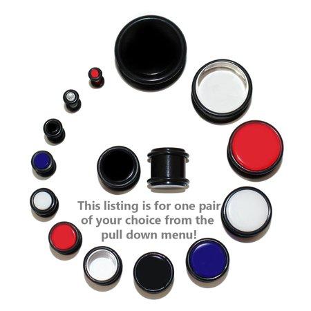 10g Gauge (Lex & Lu Pair of Acrylic UV Sensitive Ear Plugs w/O-Ring Grooves 10G - 3/4