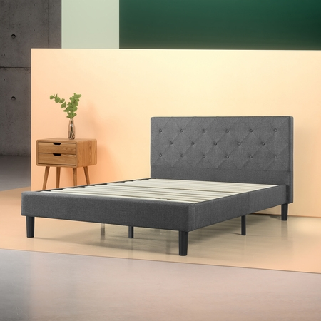- Zinus Shalini Upholstered Diamond Stitched Platform Bed with Slat Support, Multiple Sizes