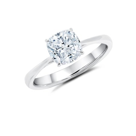 1 Carat Cushion cut Moissanite Solitaire Engagement Ring in White (Carats Cushion Engagement Ring)