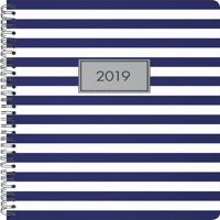 2019 Weekly/Monthly Planner, Classic Stripes, Navy