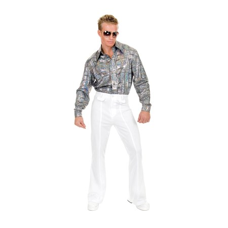 Mens White Disco Pants Halloween Costume - Snow White Prince Costume