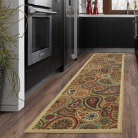 Ottomanson Ottohome Collection Contemporary Paisley Design Modern Non Slip Rubber Backing Area Rugs and Runner, Beige