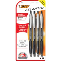 BIC Atlantis Original Retractable Ballpoint Pen, Medium Point (1.0mm), Black, 4 Count