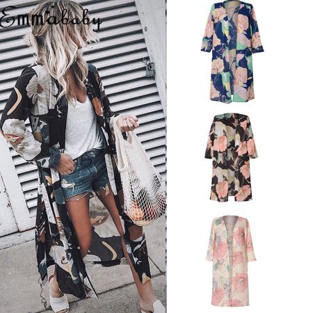 Women Floral Print Loose Shawl Kimono Blouse Long Cardigan Chiffon Coat