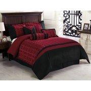 Chezmoi Collection Dynasty 7 Piece Jacquard Oriental Comforter Set