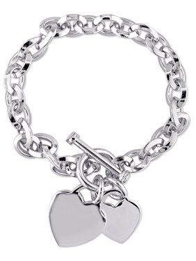 """Miabella Sterling Silver Double Heart Charm Bracelet, 7.5"""""""