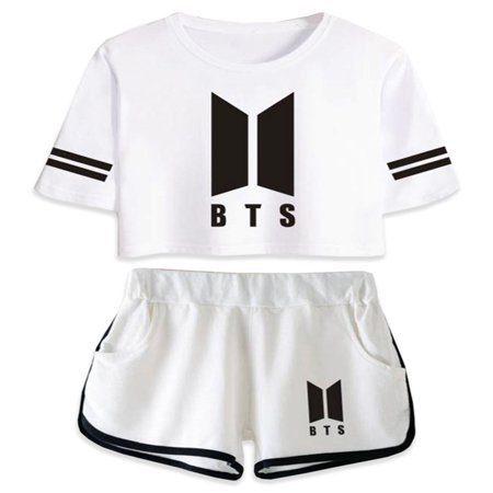 Fancyleo BTS Abum Yourself Kpop Summer Suit Shorts and T-Shirts Women Fit Hip Hop style Casual (Monsters Hip Hop)