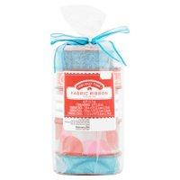 "Holiday Time Pack of Fabric Ribbon, 5 count, Includes Glitter Ribbon, ""Christmas"" Print Ribbon, Blue Ribbon, Striped Ribbon and Circle Pattern Ribbon"