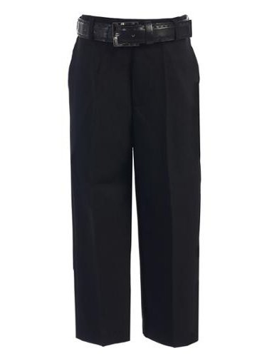 Boys Dress (Boys Black Flat Front Solid Belt Special Occasion Dress Pants)