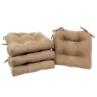 Mainstays Faux Suede Chair Pad with Ties, Set of 4, Brownstone