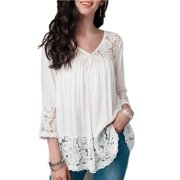 Fashion Plus Size 5XL Women Clothes Solid Color 3/4 Sleeve Blouse Lace-paneled V-neck Cropped Sleeve Casual Tops