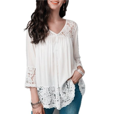 Lace Nylon Blouse - Fashion Plus Size 5XL Women Clothes Solid Color 3/4 Sleeve Blouse Lace-paneled V-neck Cropped Sleeve Casual Tops
