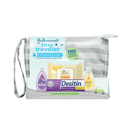 Diapering Gift Set - Johnson's Tiny Traveler Baby Gift Set, Bath & Skin Essentials, 5 items