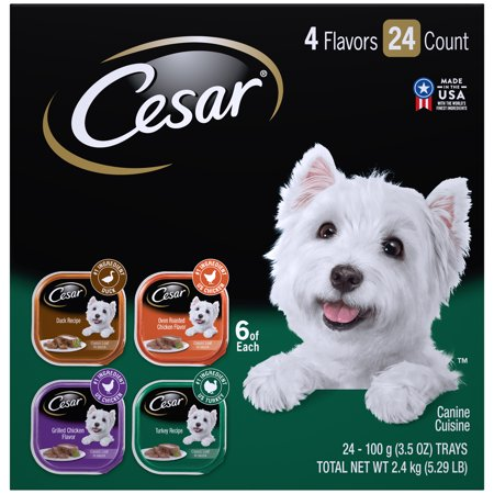 CESAR Wet Dog Food Poultry Variety Pack, (24) 3.5 oz. Trays with Real Chicken, Turkey or