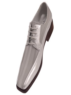 Viotti Men's Formal Oxford Dress Shoe Striped Satin Patent Tuxedo Classic Lace up Style 179