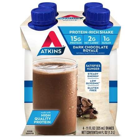 Atkins Diet Supplements (Atkins Dark Chocolate Royale Shake, 11 fl oz, 4-pack (Ready to Drink))