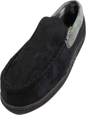 Norty Mens Moccasin Slip On Loafer Slipper Indoor/Outdoor Sole - 6 Colors, 40014 Black/Grey / X-Large