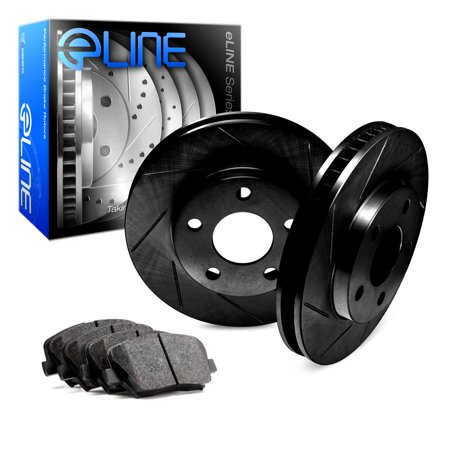 1995 1996 1997 1998 1999 BMW M3 Rear Black Slotted Brake Disc Rotors & Ceramic Brake Pads