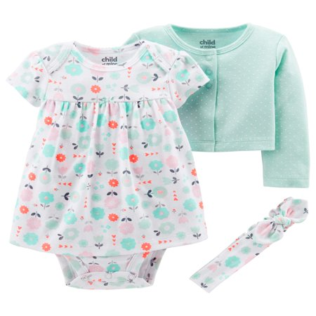 Child of Mine by Carter's Long Sleeve Cardigan, Dress & Headband, 3pc Outfit Set (Baby Girls)
