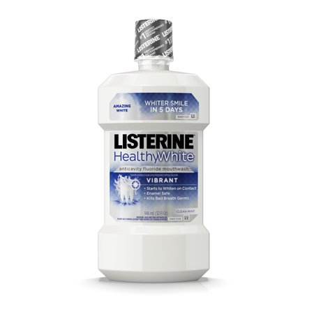 Listerine Healthy White Vibrant Multi-Action Fluoride Mouthwash For Whitening Teeth, 32 fl. oz - Healthy Teeth Rinse