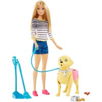 Barbie Walk & Potty Pup Set with Doll & Tail-Activated Pooping Puppy
