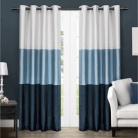 Exclusive Home Chateau Striped Faux Silk Grommet Top Curtain Panel, Set of 2