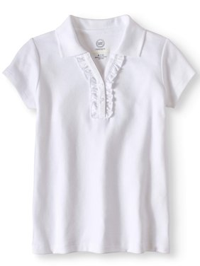 Girls School Uniform Short Sleeve Ruffle Polo