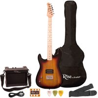 Rise by Sawtooth Left Hand 3/4 Size Beginner's Electric Guitar with Gig Bag & Accessories, Sunburst