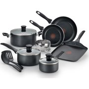 T-fal, Easy Care Nonstick 12 Pc. Cookware Set, Thermo-Spot, Dishwasher Safe, Black, B145SA