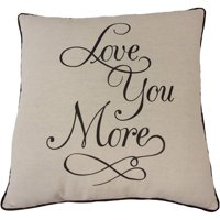 "Mainstays Love You More Decorative Throw Pillow, 18"" x 18"""