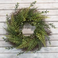 Artificial Fern Wreath with Grapevine Base- UV Resistant Greenery Wreath with Blossoms, Slim Profile for Front Door, Wall Decor by Pure Garden 21""