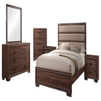 Carina 6 Piece Bedroom Set, King, Chocolate Wood & Faux Leather, Contemporary (Upholstered Panel Bed, Dresser, Mirror, Chest, 2 Nightstands)