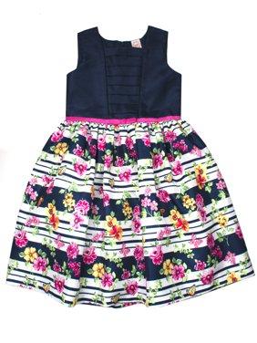 Floral Stripe Shantung Easter Dress (Little Girls, Big Girls & Big Girls Plus)