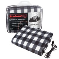 Electric Car Blanket- Heated 12V Polar Fleece Travel Throw for Car, Truck & RV by Stalwart (Black/White)