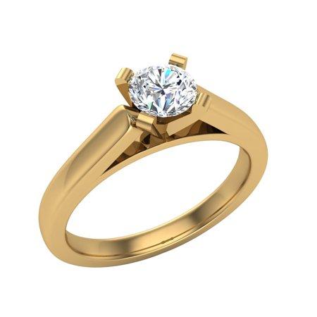 Brilliant Yellow Diamond Solitaire Ring - Solitaire Diamond Engagement Ring Round Brilliant Cut 14K Yellow Gold 3/4 ctw (I,I1) Popular Quality