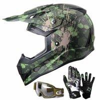 GLX Youth Kids Off Road Motocross ATV Dirt Bike Helmet [DOT] +Gloves+Goggles Color/Size Opt