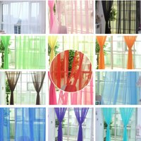 Sheer Curtain Panels Set of 2, Voile Curtains Scarf Draperies Window Treatment for Living Room/Patio/Villa/Parlor/Sliding Door