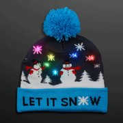 8bf9c1aad5413d Multicolor LED Snowy Snowflake Winter Christmas Holiday Snowmen Beanie Hat  by Blinkee