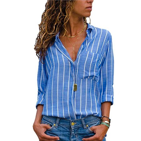 Zag Stripe Shirt (Womens Casual V Neck Striped Chiffon Blouses Long Sleeve Button Down Shirts Tops with Front Pockets)