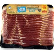 Great Value Thick Sliced Bacon, Naturally Hickory Smoked, Mega Pack, 24 oz