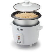 Aroma 6 Cup Non-Stick Pot Style White Rice Cooker, 3 Piece