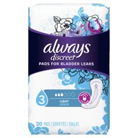 Always Discreet Incontinence Pads for Women, Light Absorbency, 30 Count