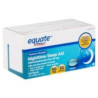 Equate Maximum Strength Nighttime Sleep Aid Softgels, 50 mg, 32 Ct