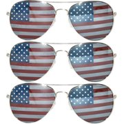 ae95b0b11e American Flag Classic Aviator Sunglasses Metal Silver Frame UV Protection  OWL (3 Pack)