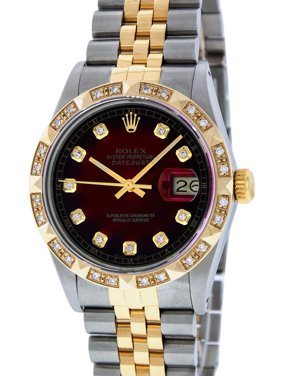 Pre-Owned Rolex Mens Datejust Steel & Yellow Gold Red Vignette Diamond Watch 16013 Jubilee