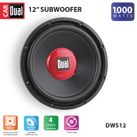 Dual Electronics DWS12 12-inch High Performance Subwoofer with a 2-inch Single Voice Coil and 1,000 Watts of Peak (12 500w Powered Subwoofer)