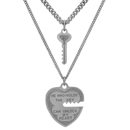 Sterling Silver Heart And Key Pendant 2-Piece Neclkace Set, 18