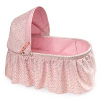 """Badger Basket Folding Doll Cradle with Hood - Pink/Rosebud - Fits American Girl, My Life As & Most 18"""" Dolls"""